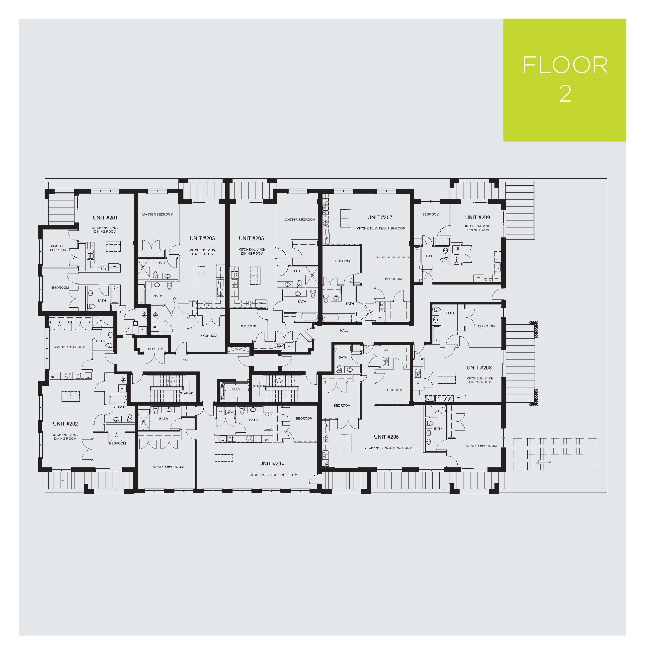 Apartment building floor plans with dimensions for Apartment complex building plans